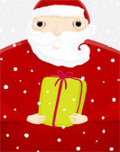 Santa Claus with Green Gift Box. — Vector de stock