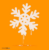 Melting Snowflake, paint drops. — Stock Vector