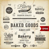 Set of vintage bakery logo badges and labels — Stock Vector