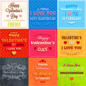 Happy Valentines Day Cards Set — Stock Vector