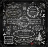 Colección de decoración Navidad tiza — Vector de stock