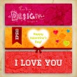Set of Happy Valentine's Day Cards for Holiday Design. — Stock Vector #43333961