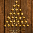 Christmas Tree Made of Golden Stars — Stock Vector