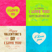 Happy Valentines Day Cards Set — Vettoriale Stock