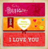 Set of Happy Valentine's Day Cards for Holiday Design. — Stock Vector