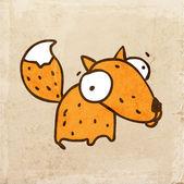 Illustration vectorielle dessinés à main fox mignon — Vecteur