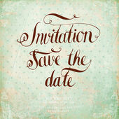 Calligraphic Lettering. Invitation, save the date. — Stock Vector