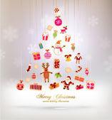 Weihnachtsbaum Weihnachten Icons gemacht — Stockvektor