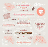 Valentine's Day and Wedding Set. Labels — Stok Vektör