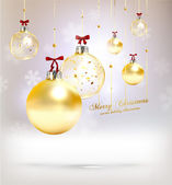 Christmas balls, golden Xmas baubles — Stockvector