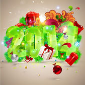 Christmas Poster. Big 2014 3D lettering — Stock Vector