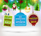 Collection of Vintage Retro Christmas Labels. — Stock Vector
