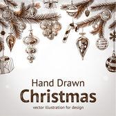 рождество рисованной мех елки на рождество дизайна — Cтоковый вектор