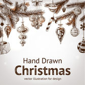 Christmas hand drawn fur tree for xmas design — Vector de stock