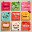 Set of retro bakery labels, ribbons — ストックベクタ