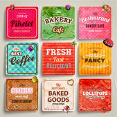 Set of retro bakery labels, ribbons — Stock Vector