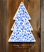 Christmas Tree with blue Winter Ornament — Stok Vektör