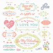 Valentine's Day and Wedding Set. Labels — Vettoriale Stock