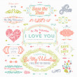 Valentine's Day and Wedding Set. Labels — Cтоковый вектор