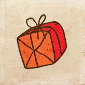 Presente vermelho. bonito mão desenhada ilustração vetorial — Vetor de Stock