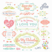 Valentine's Day and Wedding Set. Labels — Stockvektor