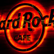 Stock Photo: Hard Rock Cafe Glowing Sign