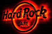 Hard Rock Cafe Glowing Sign — Stock Photo