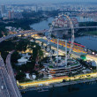 Singapore Flyer & Marina Bay Street Circuit - ストック写真