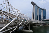 Helix Bridge & Marina Bay Sands — Stock Photo