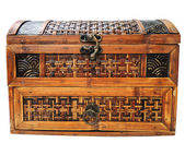Ancient wooden chest isolated on white — Stock Photo