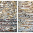 Stone wall collage - Stock Photo