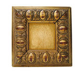 Antique golden frame isolated on white — ストック写真