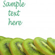 Isolated kiwi with sample text here — Stock Photo