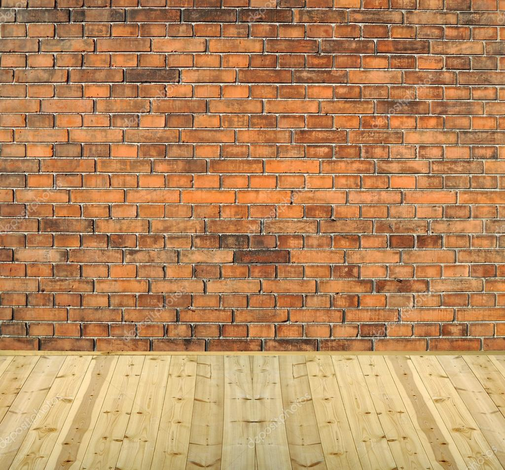 With white brick wall and wood floor backg stock image 26199821