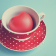 Polka dots cup with heart retro — Stock Photo