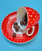 Cup off coffee with chocolate candy — Stockfoto