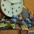 Vintage books and old clock — Stockfoto