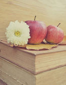Apple on old books and flowers — Stock Photo
