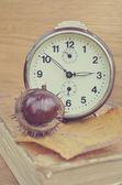 Old book with chestnut and clock — Zdjęcie stockowe