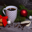 Christmas cup of coffee with cookies — Stock Photo
