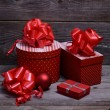 Stock Photo: Christmas Presents and Ornaments on Wooden Background