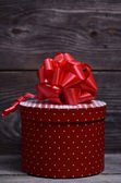 Beautiful red Christmas box — Stok fotoğraf