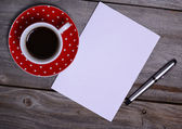 Blank Paper ready for your own text, Pen & Coffee — Stock Photo