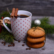 Coffee and cookies for Christmas morning — Stock Photo