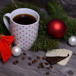 Cup of coffee, cookies and chocolate for Christmas — Stock Photo