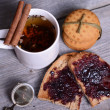 Bread with jam for breakfast — Stock Photo