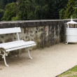 Wrought iron benches — Stock Photo