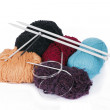 Knitting yarn and knitting needles — Stock Photo