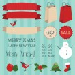 Stock Vector: Set of vintage christmas elements