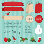 Set of vintage christmas elements — Vector de stock